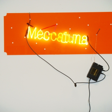 Jason Rhoades (1965 - 2006) Neon light mounted on orange translucent Plexiglas, wire, lace, transformer. 2003,17.2 x 47 x 1.5 in. (studio proof) courtesy PFM collection