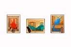 """Paco Marcial, drawing series (from left to right:""""W-Viva Vaccarella"""" , """"Bugatti le Sarthe"""",""""B at Garda 1927""""), 2012, Decoration Malereien paper, Automotive color, printed matter. var. dim."""