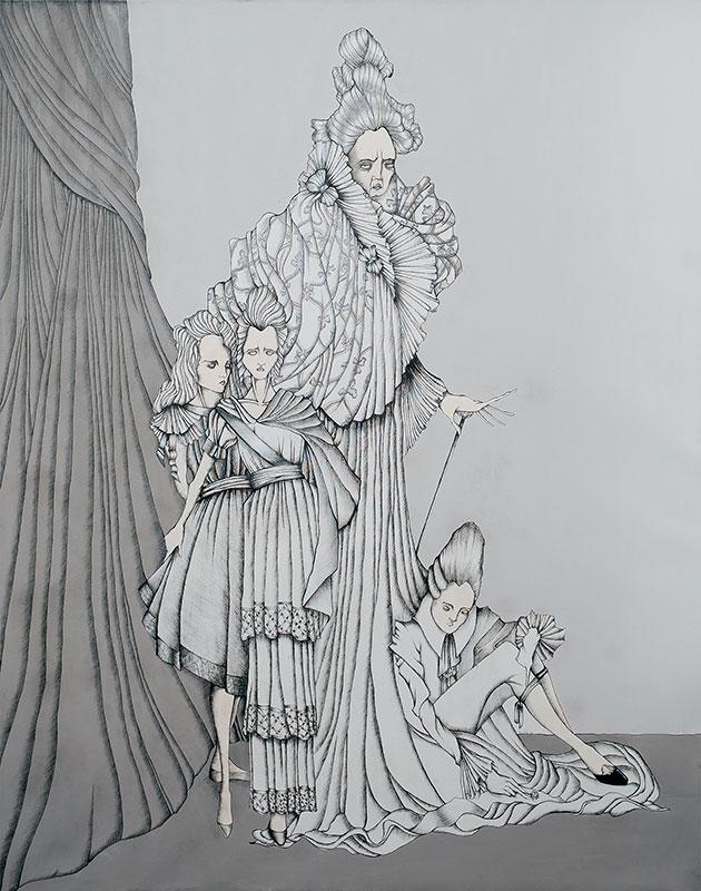 Daniele Davitti Atlante, 2013, acrylic, ink and graphite on canvas, 70,92x55,16