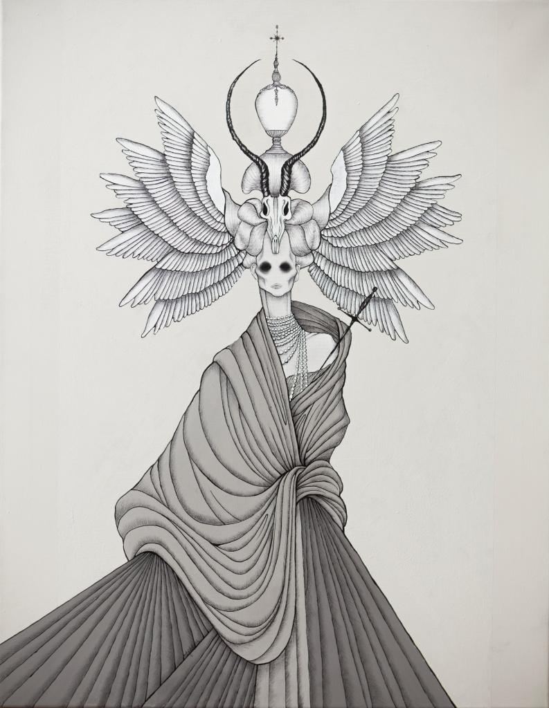 Daniele Davitti Caterina, 2013, acrylic, ink and graphite on canvas, 35x28