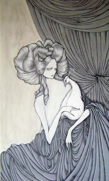 Daniele Davitti Conforti della bellezza, 2013, acrylic, ink and graphite on canvas,39.4x23.64