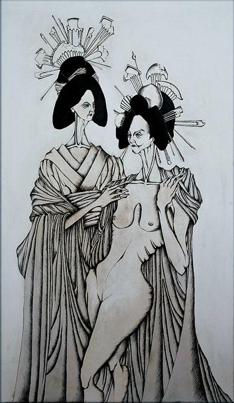Daniele Davitti Corhabeo, 2013, acrylic, ink and graphite on canvas, 47.30x27.60
