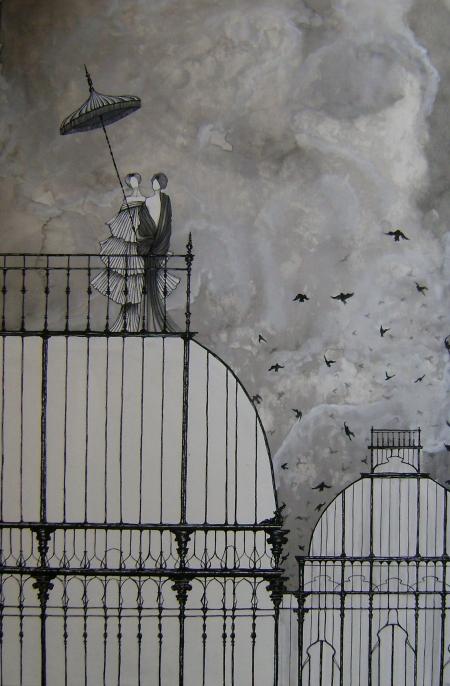Daniele Davitti Epilogo, 2013, acrylic, ink and graphite on canvas, 25.55x19.68
