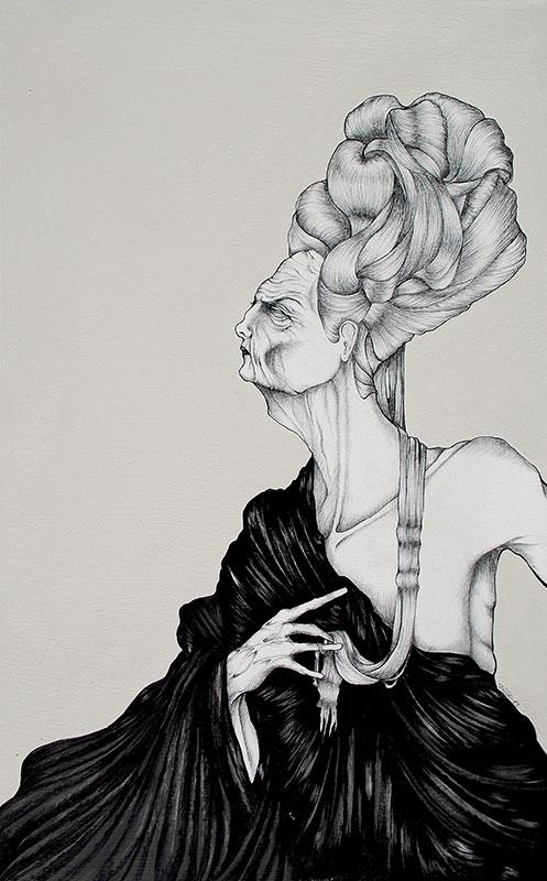 Daniele Davitti, Il lungo inverno e i capelli che hai toccato (Never ending winter and hair you touched), 2013, acrylic, ink and graphite on canvas, 31x20