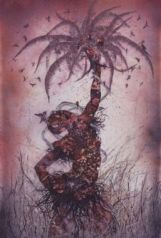 Wangechi Mutu (Kenyan, b. 1972). Le Noble Savage, 2006. Ink and collage on Mylar, 91¾ x 54 in. (233 x 137.2 cm). @ Brooklyn Museum, NY