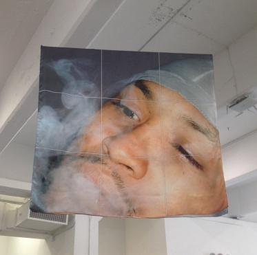 Frances Stark, Untitled, 2014, inkjet print on silk @Artists Space