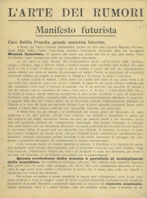 Luigi Russolo The Art Of Noises Futurist Manifesto, 1913