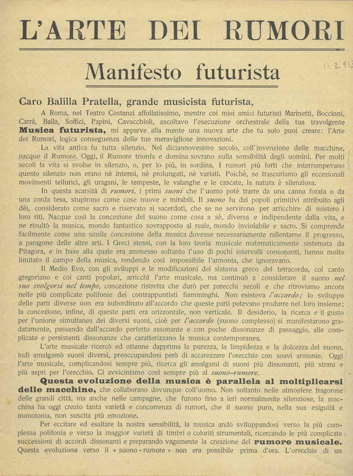 Luigi Russolo The Art Of Noises Futurist Manifesto, 1913