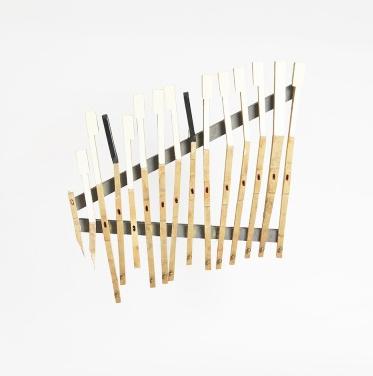 Tamar Ettun, pianoxilophone, 2014, piano keys wood, nail, screws