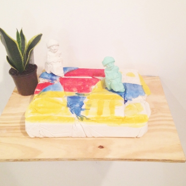 William Corwin Gudea of Lagash, 2014 installation with plaster, plant, acrylic color, dim. var.