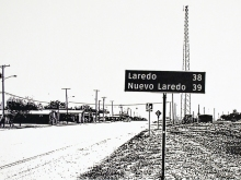 Ethel Shipton, Los Dos Laredos, screen print on strathmore cotton paper