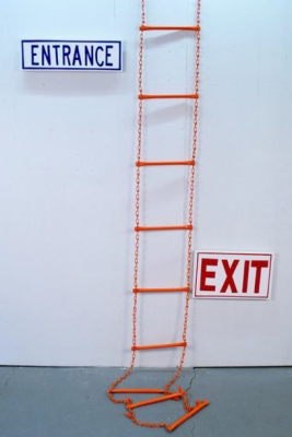 Ethel Shipton, Ladder, metal ladder and wood panel and sign vinyl, 10 x 4""