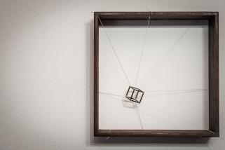 Introverted perspective #7, 2012, 25 x 25 x 8 cm, Iron, polyester thread, plaster. © Photo Oliviero Santini