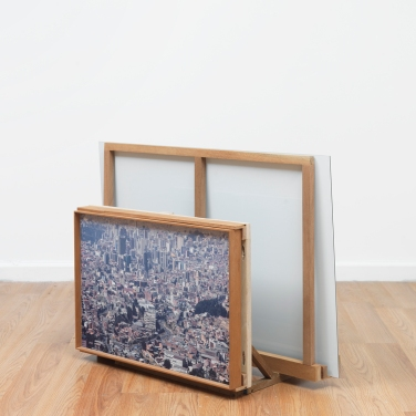 Myeonsoo Kim, 'Expedition Chacaltaya (Part V)' 2015. Archival pigment print mounted on aluminum, wood (installation view)