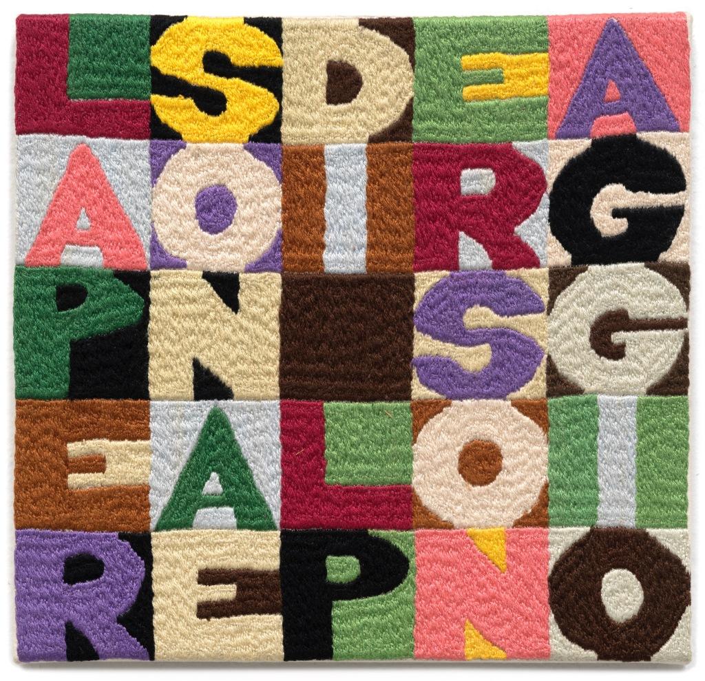Alighiero Boetti, La persona e il personaggio (1985), Embroidery on fabric, 8.2x8.2 inches. Image courtesy TOTAH Gallery