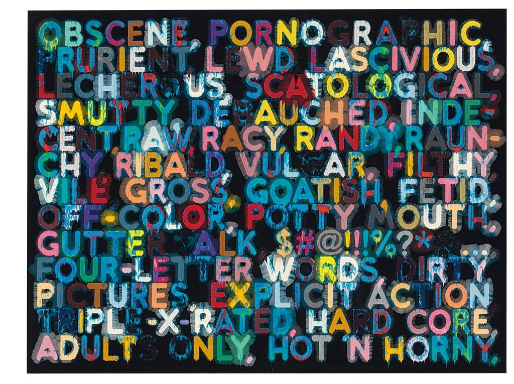 Mel Bochner, Obscene (2006), Oil on velvet, 35.5 x 47 inches. Image courtesy TOTAH Gallery