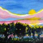 "Agnes Fisher, ""Sunset #1"" Acrylic on canvas, 9 x 12"