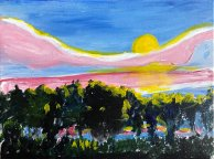 """Agnes Fisher, """"Sunset #1"""" Acrylic on canvas, 9 x 12"""