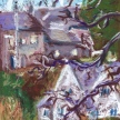 """Barbara Sartorius Bjelland, """"Cotswold Cottages"""" Oil pastel on colored paper, 6.5 x 5"""