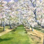 "Carol Berger, ""Orchard Blossoms"" Oil on canvas, 12 x 14"