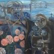 "Danielle Benson-Fennell, ""Maman de Bretagne"" Acrylic on canvas, 24 x 24"