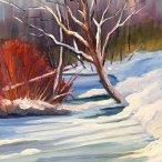 "Deborah Hoover, ""Winter Red"" Acrylic on canvas, 14 x 11"