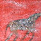 """Elisa Jensen, """"Alsvid (Sunhorse)"""" Oil and sand on canvas, 18 x 24"""