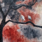 "Evalyn VerHey, ""Watching"" Acrylic on canvas, 18 x 14"