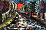 "Jeremy Hutchins, ""Sunset"" Tempera on wood panel, 12 x 18"