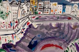 "Jordan Smith, ""The Ha' Penny Bridge"" Ink, acrylic and oil on paper, 12 x 18"