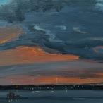 "Kristin Malin, ""Sunset and a Storm Colliding"" Oil on aluminum, 5 x 7"