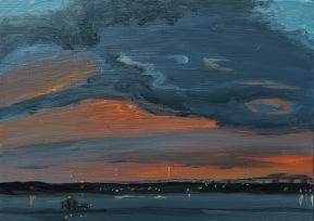 "Kristin Malin, ""Sunset and a Storm Colliding"" Oil on aluminum, 5 x 7"