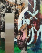 """Martin Dull, """"Syncopation Painting II (Ashcan Rantings)"""" Aluminum plating, oil, acrylic, and paper on panel, 20 x 16"""