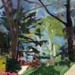 "Megan WIlliamson, ""At the Edge of the Ravine"" Oil on canvas, 13 x 21"