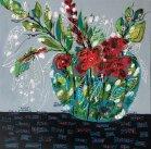 "Sri McCarthy, ""Red Flowers in Grandma's Vase"" Acrylic on canvas, 24 x 24"